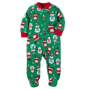 53bb92098ac9 CARTER S BOY GIRL 1PC CHRISTMAS SANTA FOOTED SLEEPER FLEECE PAJAMAS ...