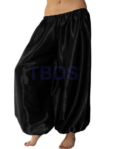 Black Harem Pant Satin Women Student Yoga Genie Trouser Belly Dance Aladdin Club