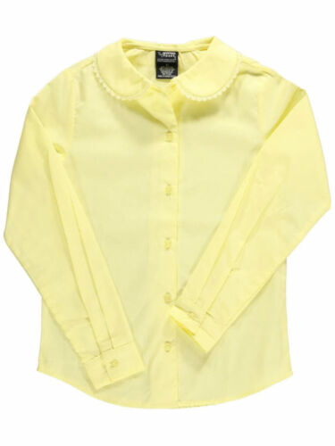 French Toast Big Girls/' L//S Blouse with Lace Edging Sizes 7-20