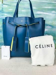 2100-CELINE-Phantom-Cabas-Tassel-Blue-Yellow-Leather-Shopper-Tote-Bag-NEW-SALE