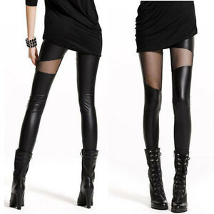 Mode-Damen-lange-Leggings-Hose-Mesh-Hosen-Strecken-Stift-Leggins-Schwarz-S2X2