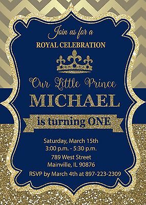 Prince Royal King Blue Gold First Birthday One Birthday Party Invitation Ebay
