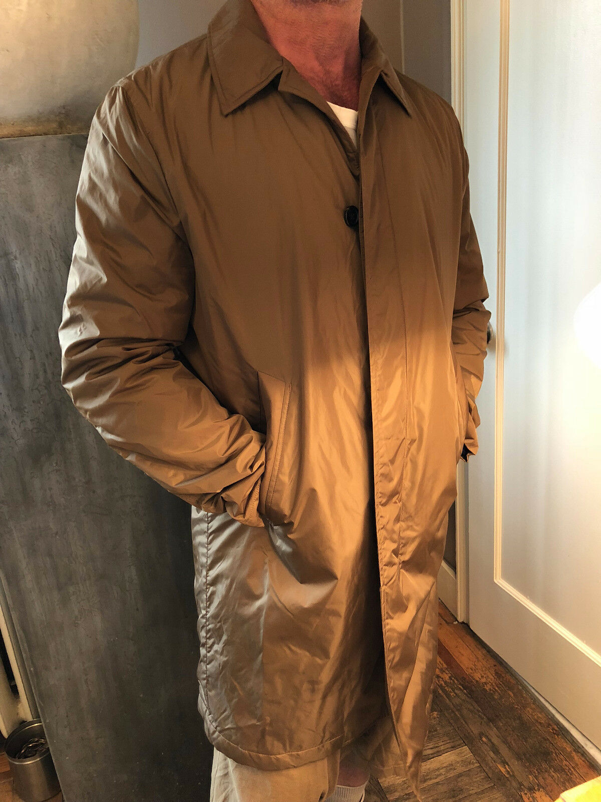 PAUL LINING. SMITH.  MAC Cappotto. NYLON.  MUSTARD Marrone.  TRAPUNTO LINING. PAUL SIZE XL. d4bbb5