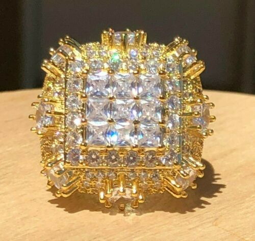 Men/'s Bling 8ct Diamond Pinky RING 14k Gold Finish ICY HIP-HOP Pinkie Size 7to12