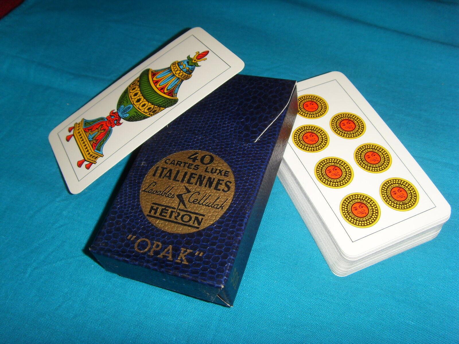 Ancien jeu de cartes à jouer italien scopa VINTAGE boite logo doré or or