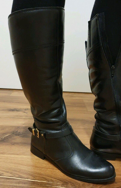 VARESE Stiefel Stiefel Schuhe Gr.39 Echt Leder SchwarzReiterstiefel Schnalle Gold