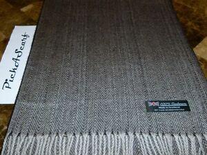 100-CASHMERE-Black-Gray-Check-HerringBone-Tweed-Plaid-Scarf-Made-in-SCOTLAND