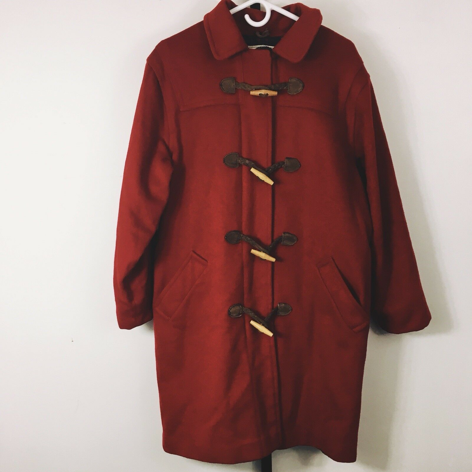Vintage LL Bean Wool Toggle Coat 10 Red Plaid Lining Hooded Knee Length USA Made