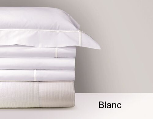 COLOR STITCHING ATHENA BY YVES DELORME FRANCE WHITE COTTON PERCALE FLAT SHEET