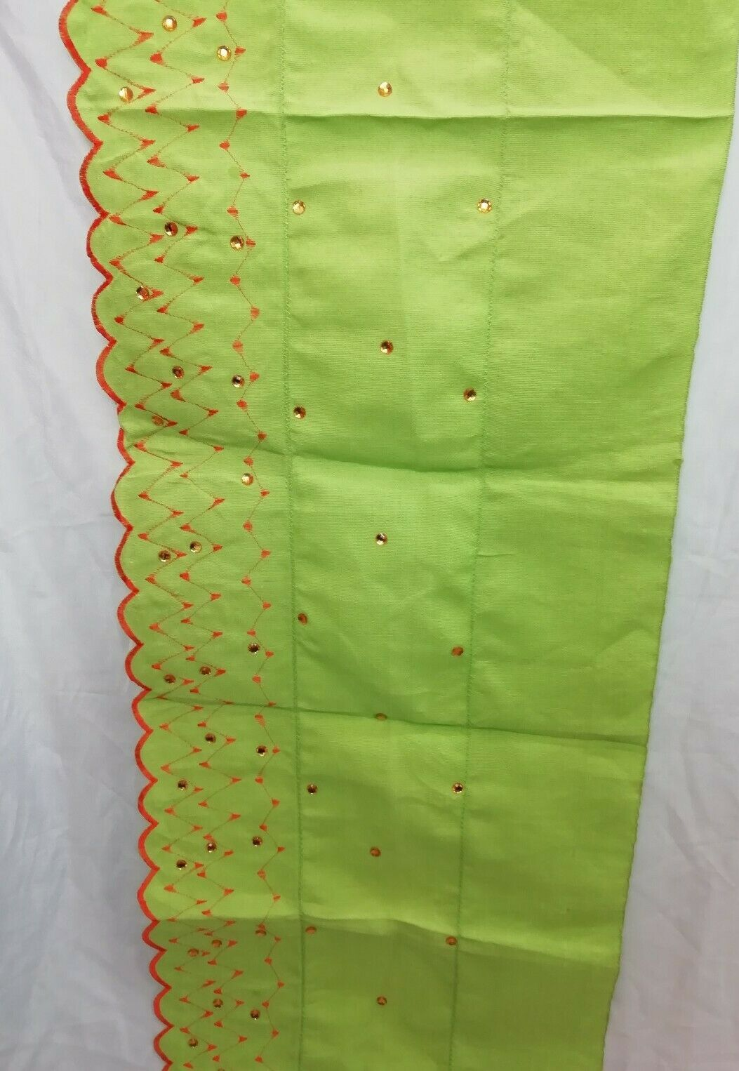 Aso Oke Gele Head Tie with stones Lime Green & Orange Good quality material