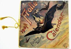 Halloween-1901-Ad-Fortune-Telling-Calendar-FROLIC-w-Zodiac-amp-Black-Bats