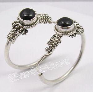 925-Sterling-Silver-Unseen-BLACK-ONYX-TRIBAL-ANTIQUE-LOOK-HOOP-Earrings-1-2-Inch