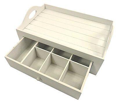 2in1 Set Holz Serviertablett mit Teekasten weiß Teekästchen Tee Box Aufbewahrung