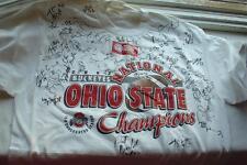 03 Ohio State Football Buckeyes Signed on 02 Champions T-Shirt AJ Hawk Autograph
