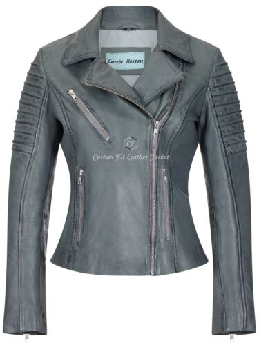 Biker Leather Designer Real 9334 Lambskin Motorcycle Jacket Grey Ladies Style OXFZq