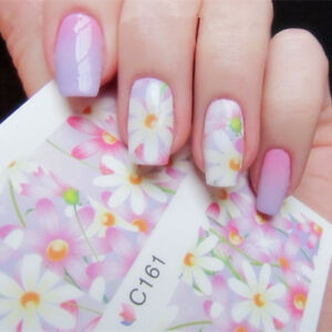 Nail-Art-Water-Decals-Stickers-Transfers-Dusty-Pink-Pastel-Flowers-Daisies-C161