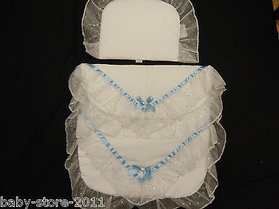 Beautiful Pram Quilt and Pillow Set WHITE romany Style suitable for MOST PRAMS