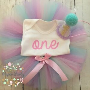 96131bd69 Image is loading Rainbow-Pastel-Glitter-Cake-Smash-1st-Birthday-Outfit-