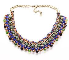 Blue Stone/Multi- Colour Strands & Diamante Golden Chain Necklace(Zx306)