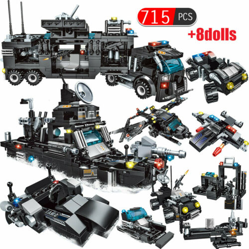 715pcs City Police Station Building Blocks Compatible Legoingly City SWAT Team