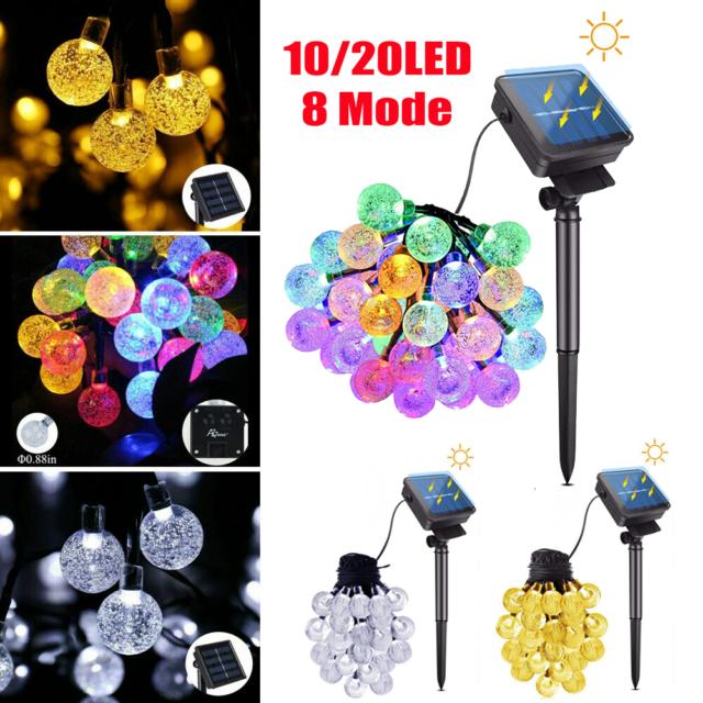 30 LED String Solar Powered Lights Outdoor Bulbs Patio Party Yard Garden Wedding