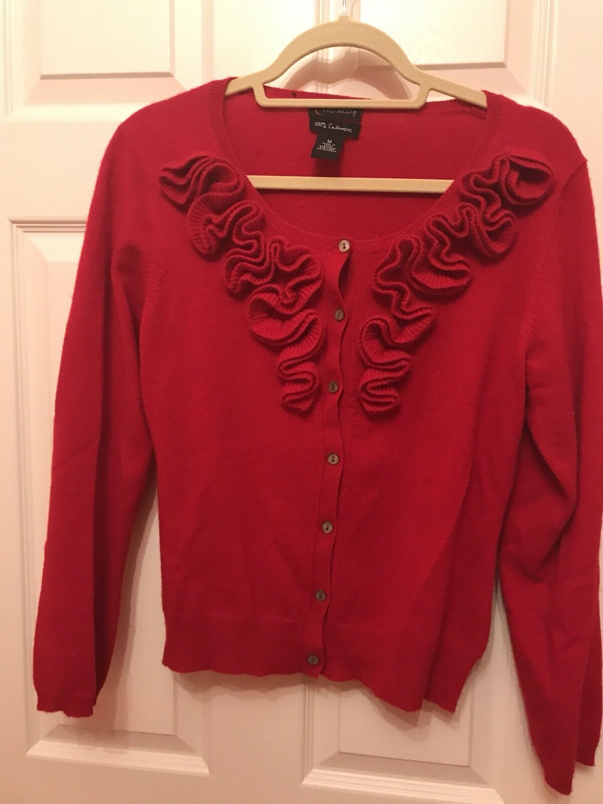 Red Moon, 100% Cashmere, Ruffle Front Red Cardigan, Size M