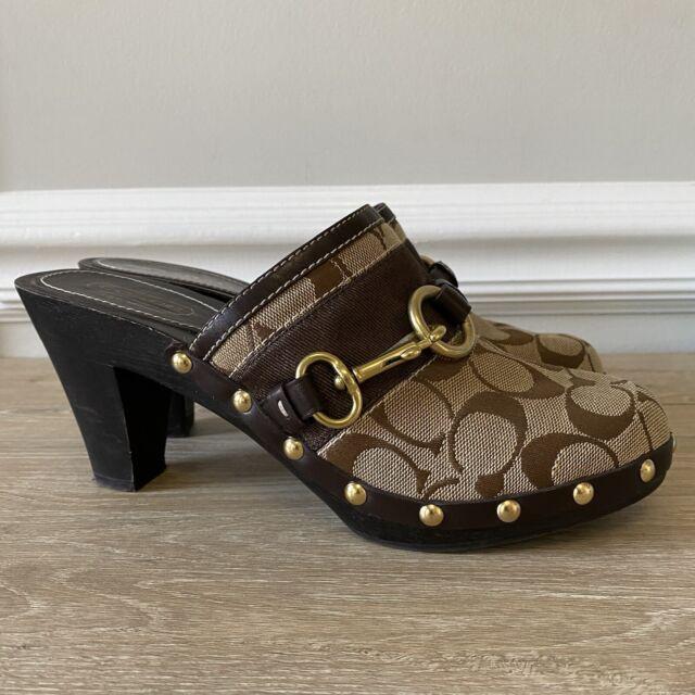 Coach Signature Sutton Women's size 9 M Brown Studded Clogs Mules Heels