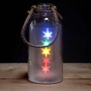 Dekoratives Großes Glas mit Farbigen LED Sternen & Seil, Decorative Bottle LED
