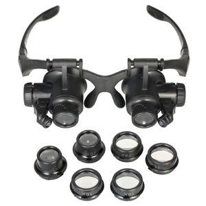 1X-Uhr-Werkzeuge-Uhr-Reparatur-Werkzeug-Satz-Kopf-Tragen-Lupe-mit-Led-Leucht-9P1