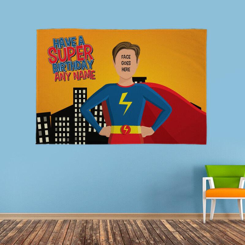 Personalisiert Alles Gute zum Geburtstag Vorderseite & Name Superheld | Ausgezeichnete Qualität  | Elegant