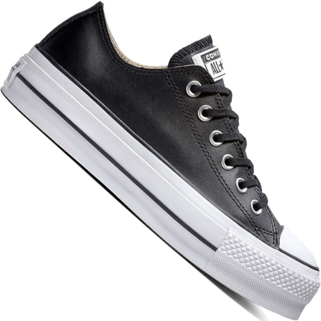 148d0d61c7b8f Converse CTAS Lift Clean Ox Womens Black White Leather Trainers ...