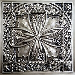 Image Is Loading Faux Tin Ceiling Tile Td10 Aged Silver Glue