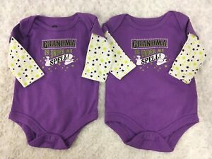 Lot of 2 Twins Halloween outfit Girls Grandma is under my spell 0-3 M NB Purple