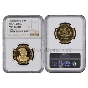 Coins & Paper Money Open-Minded Lesotho 1966 Independence 4 Maloti Gold Ngc Pf67 Cameo