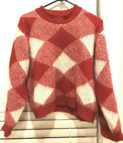 Sandro red&white sparks plaid sweater