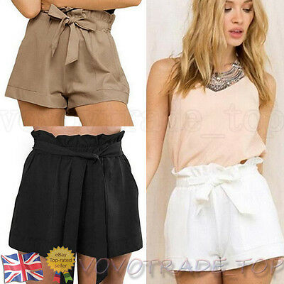 Plus Size Women Female Casual Shorts Ladies  High Waist Short Pants With Belt UK