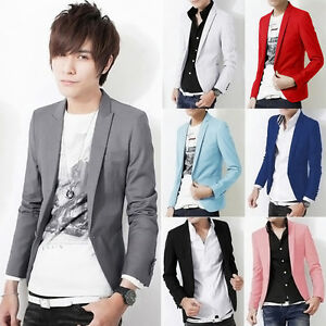c44c77d1a11f Men Casual Slim Fit One Button Suit Korean Office Party Blazer ...