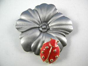Vintage-Ultra-Craft-Pin-Flower-with-LadyBug-Figural-Brooch