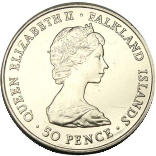 elf Falkland Isl 50 Pence 1980 Queen Mum