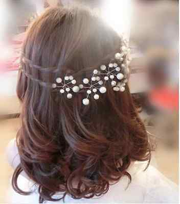 2pcs Wedding Bridal Bridesmaid Pearls Hair Pins Clips Comb Head wear band women