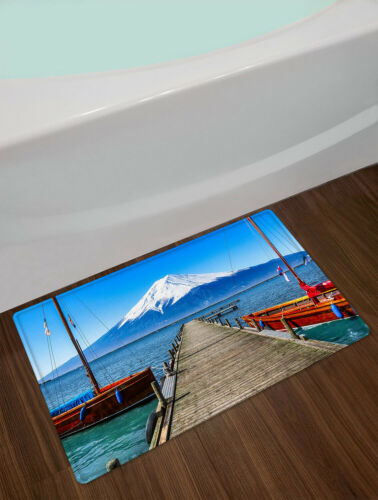 """Details about  /Seaside Trestle Snow Mountain Volcano Waterproof Fabric Shower Curtain Set 72/"""""""