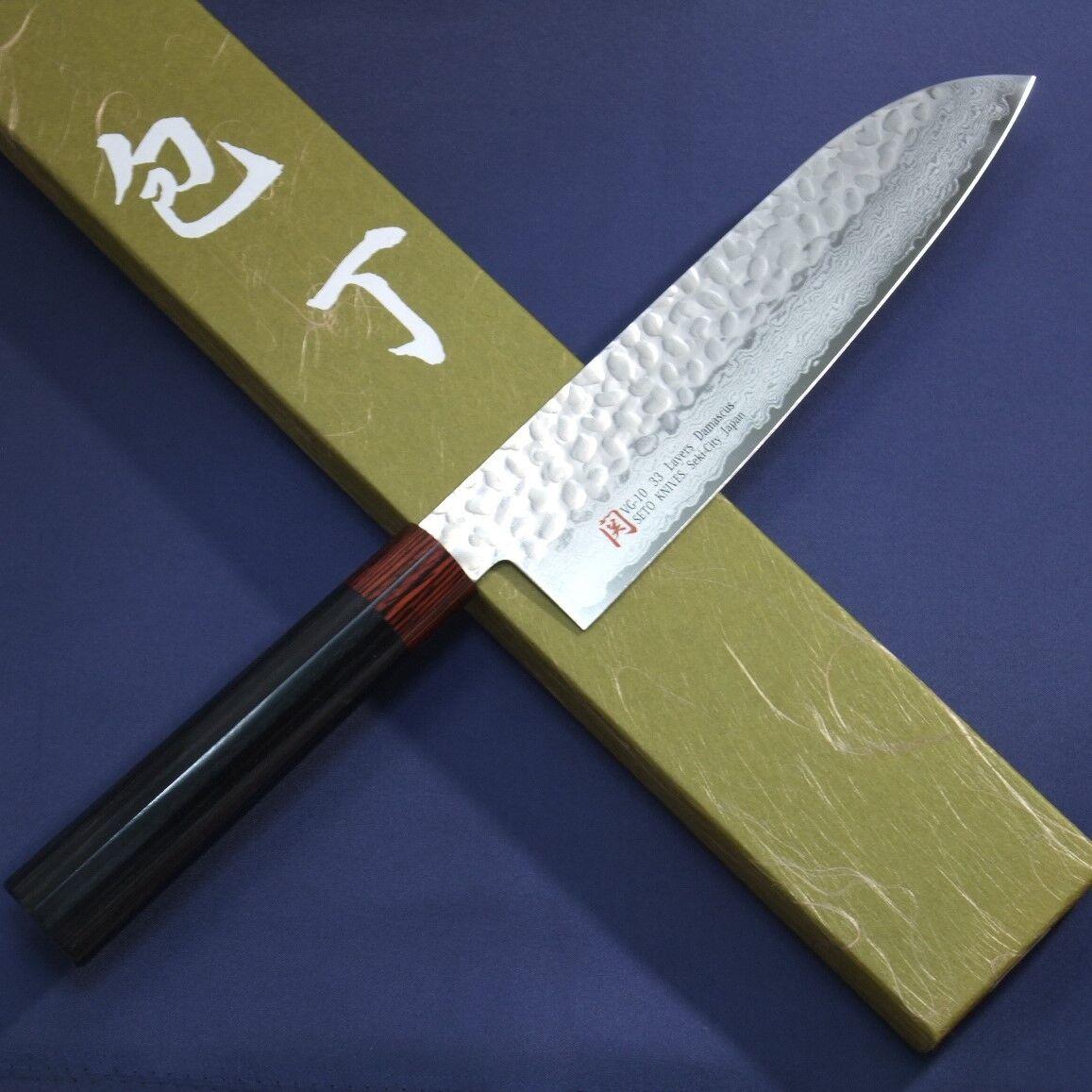 JAPONAIS SANTOKU Couteau de cuisine Iseya martelé Damas VG10 180 mm 33 COUCHES Japon