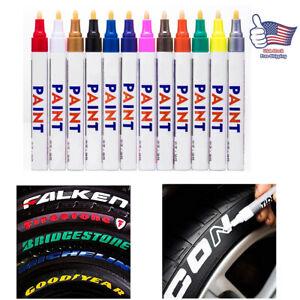 12pcs Waterproof Permanent Paint Marker Pen Car Tyre Tire Pen Tread Rubber Metal