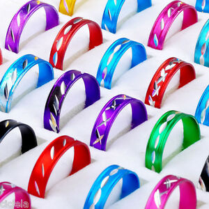 Wholesale-Women-Men-50Pcs-Mixed-Aluminum-Bulk-Round-Band-Ring-Jewelry-Gift