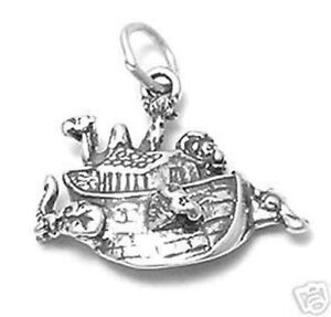 925 Sterling Silver Noah/'s Ark Charm with Necklace