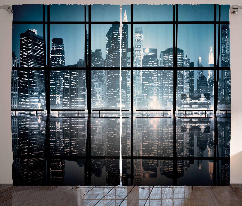 Cortinas ciudad de Nueva York en Cortinas Ventana Paisaje nocturno 2 pulgadas Panel Set 108x84