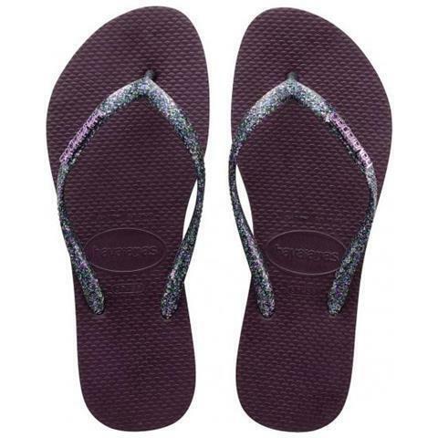 Havaianas Women`s Flip Flops Slim Logo Mettallic Aubergine Silver Sandals