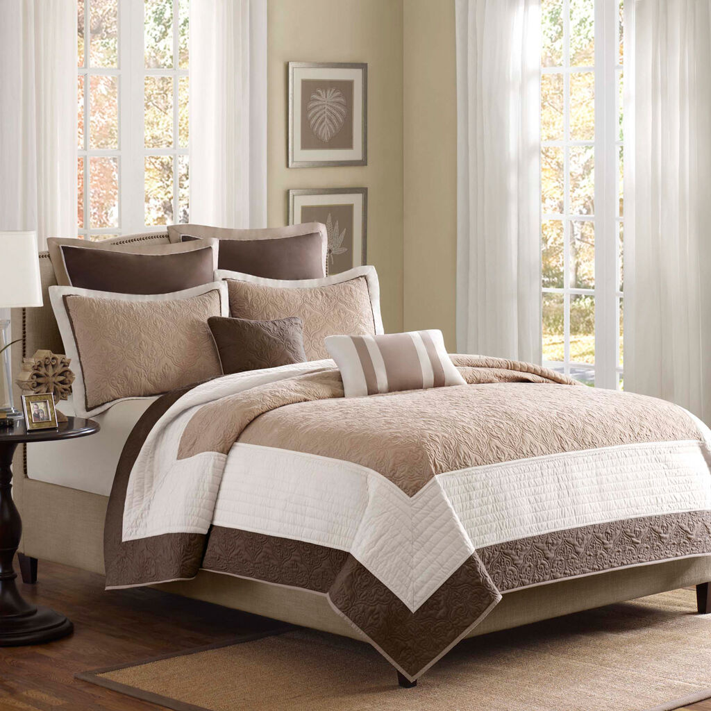 BEAUTIFUL 7 PC MODERN ELEGANT Weiß braun BEIGE TAUPE TAN TEXTUrot QUILT SET
