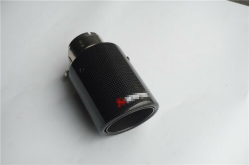 Universal Real Carbon Fiber Exhaust Tip 54MM IN-89MM OUT Muffler Tip Glossy Trim