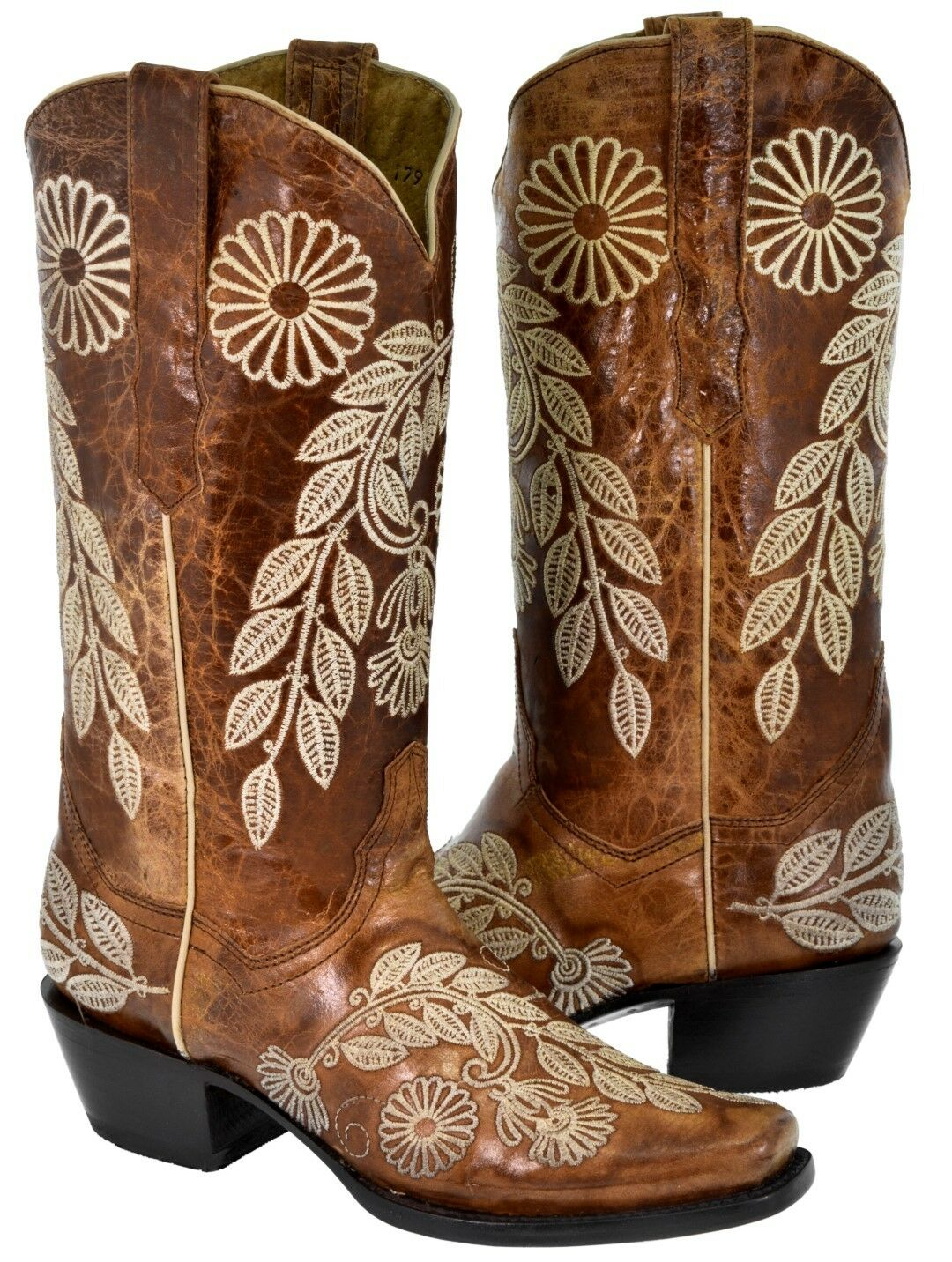 Women's Floral Cowboy Boots Distressed Cognac Leather Western Rodeo Toe